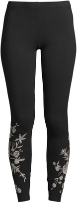 Johnny Was Oriana Embroidered Jersey Leggings