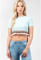 Select Fashion Fashion Womens White Fringe Tape Crop Top - size 6