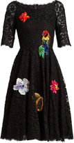Dolce & Gabbana Floral-embellished cordonetto-lace dress