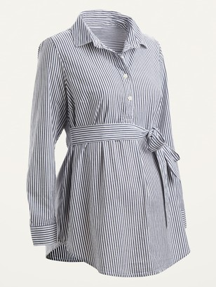 Old Navy Maternity Striped Tie-Belt Popover Tunic Shirt