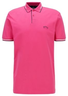 HUGO BOSS Slim-fit polo shirt in stretch pique with curved logo
