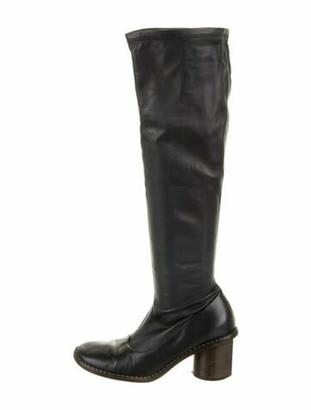 Celine Leather Riding Boots Blue