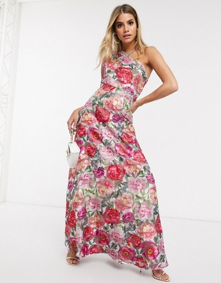 Chi Chi London one shoulder maxi dress in floral