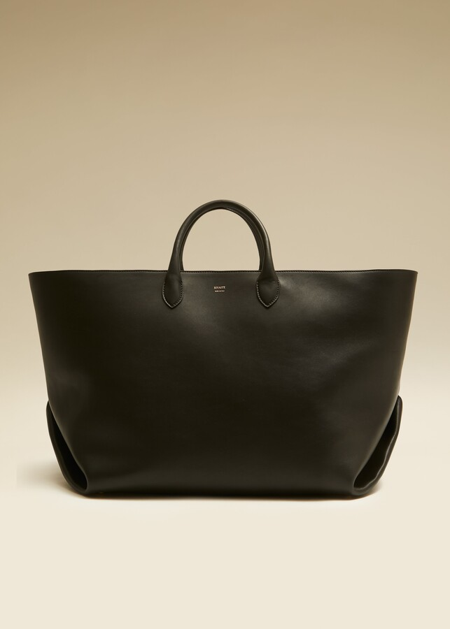 KHAITE The Large Envelope Pleat Tote in Black Leather