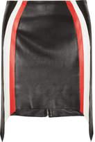 Thierry Mugler Striped Leather Mini Skirt - Black