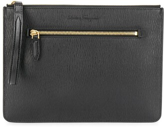 Salvatore Ferragamo Etched Zip-Pocket Pouch