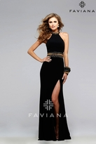 Faviana 7704 Jersey Halter Dress with Beaded Waist