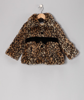 KC Collections Leopard Faux Fur Coat - Toddler & Girls