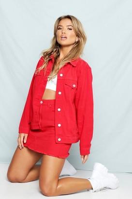 boohoo Red Oversized Denim Jacket