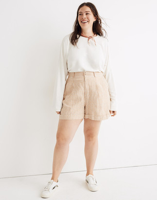 Madewell Linen Pleated Shorts in Gingham Check