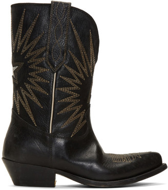 Golden Goose Black Wish Star Low Boots