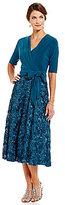 Alex Evenings Tea-Length Rosette Skirt Party Dress