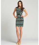 Julie Brown JB by green fairisle print stretch 'Cammie' sleeveless dress