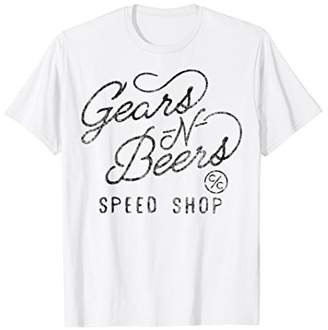 N. Gears Beers Speed Shop Cursive Type Graphic T-Shirt
