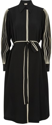 BODICE Black Belted Silk Shirt Dress