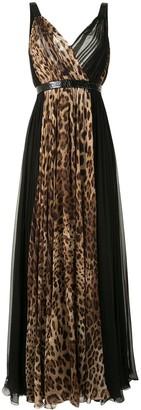 Dolce & Gabbana Leopard-Print Panelled Long Dress