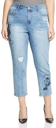 Seven7 Jeans Plus Embroidered Straight-Leg Cropped Jeans in Affection