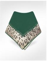 Animal Print Frame Signature Chiffon Silk Square Scarf