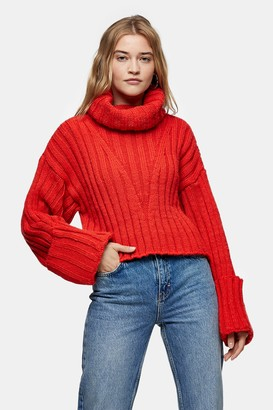 Topshop Orange Red Turnback Cuff Knitted Sweater