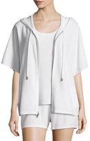 Neiman Marcus Cashmere Short-Sleeve Hooded Zip Jacket