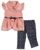 Little Lass Baby Girl's Two-Piece Belted Tunic and Capri Set