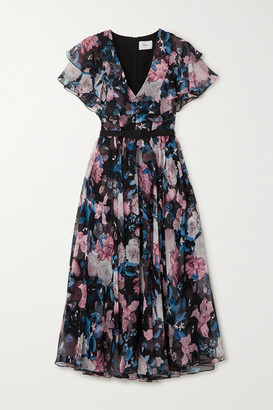 Erdem Garland Belted Floral-print Silk-chiffon Midi Dress - Black