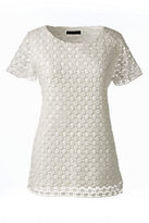 Classic Women's Petite Lace Top-Ivory