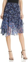 T Tahari Cassandra Mixed Floral Tiered Ruffle Skirt