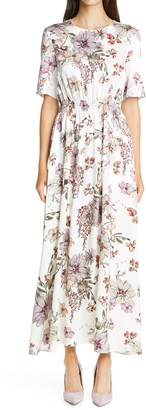 Adam Lippes Floral Print Smocked Waist Maxi Dress