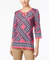 JM Collection Petite Embellished Printed Keyhole Tunic, Only at Macy's