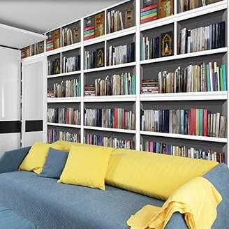 LIBRARY WALPLUS Bookshelf Wall Sticker, Vinyl, Multi-Colour, 10.6 x 64 x 5 cm