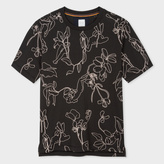Paul Smith Men's Slim-Fit Black 'Botanical' Embroidered T-Shirt