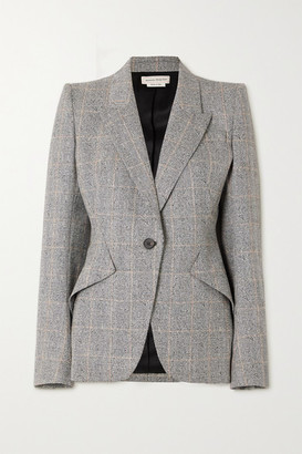 Alexander McQueen Prince Of Wales Checked Wool-blend Blazer - Black
