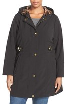 Via Spiga Hooded Soft Shell Coat with Animal Print Lining (Plus Size)