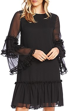 CeCe Bell-Sleeve Ruffle Dress