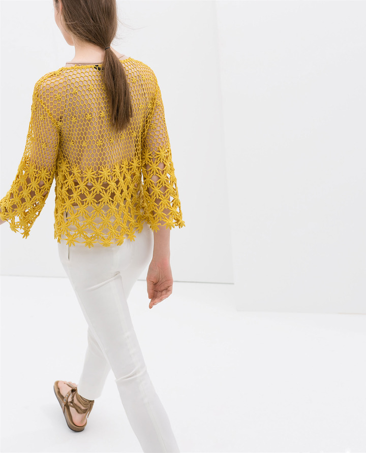 Zara Embroidered Cotton Blouse