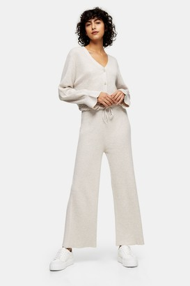 Topshop Womens Oat Paperbag Knitted Trousers - Oatmeal