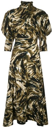 Proenza Schouler Feather Print Draped Sleeve Dress