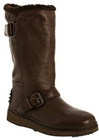 Car Shoe coffee leather shearling lined buckled boots