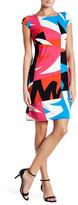 Nine West Cap Sleeve Printed Boatneck Dress