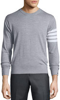 Thom Browne Merino Wool Crewneck Sweater, Light Gray