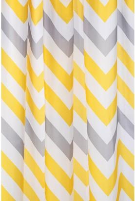 Croydex Chevron Shower Curtain and Bathmat Set Yellow, Grey and White