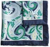 Navy And Green Paisley Border Classic Silk Pocket Square Size Osfa By Charles Tyrwhitt