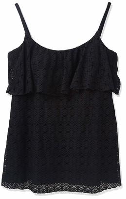 Penbrooke Women's Crochet Single Ruffle Tankini Top
