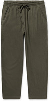 The Lost Explorer - Boiled Wool And Cotton-blend Drawstring Trousers - Army green