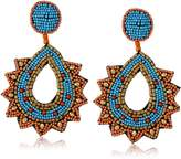 Kenneth Jay Lane Gold Faux-Turquoise Coral Beaded Top and Post Drop Earrings