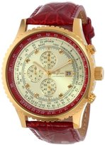 Burgmeister Savannah Bm320-274 Gents Chronograph Gold Red Leather Strap Gold Dial Chrystals Date Day Month