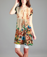 Yellow Floral Empire-Waist Tunic - Plus