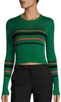 Diane von Furstenberg Metallic Striped Rib-Knit Pullover