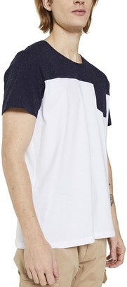 Esprit Two-Tone Cotton T-Shirt with Breast Pocket